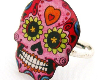 Mexican skull ring pink