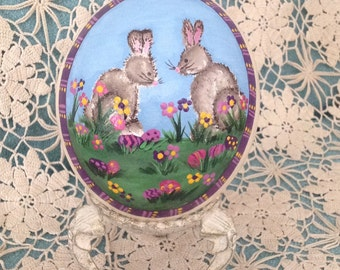 EASTER SALE!! Original hand painted ostrich egg with spring blossoms and two gray rabbits and purple Easter eggs.