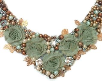 Flower Bib Necklace - Flower Statement Necklace - Beaded Flower Necklace - Flower Collar - Beaded Collar Necklace - Beaded Bib Necklace