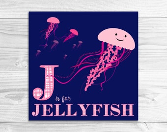 Instant Download: J is for Jellyfish Wall Art Print // Baby Art, Nursery Art, Alphabet Art