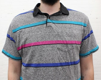 vintage striped polo shirt from the 1980s / 1990s by Campus, size large to extra large tall