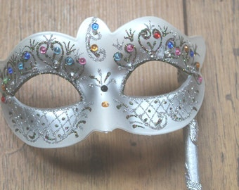 Stunning Silver Crystal Masquerade Mask on a Silver Stick