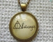 Harry Potter Handmade Altered Art Glass Pendant Necklace Always Deathly Hallows