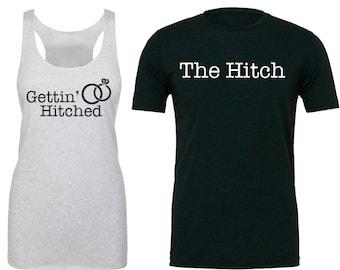 Bride And Groom Shirt Set. Bride Shirt. Bachelorette Shirt. Bride To Be Shirt. Bachelorette Party Shirt. Bridal Party Shirt. Hitched.