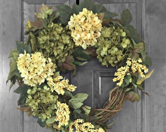FALL WREATH SALE Hydrangea Wreath, Door Wreath, Xl Wreath, Outdoor Wreath, Summer Wreath, Spring Wreath, Green Wreath, Front Door Wreaths,