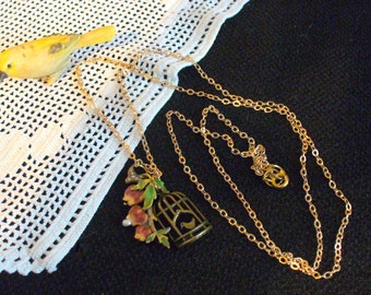 Re-Purposed Flower Branch Charm and Bird in a Cage Necklace, Bird Necklace, Seed Pearl Charm, Hand Painted Charm, Gold Chain, MarjorieMae