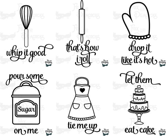 Download Set of 6 Cute Funny Kitchen Baking SVG PNG DXF by ...