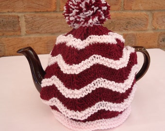 Hand Knitted Tea Pot Cover ( Maroon and Pink )