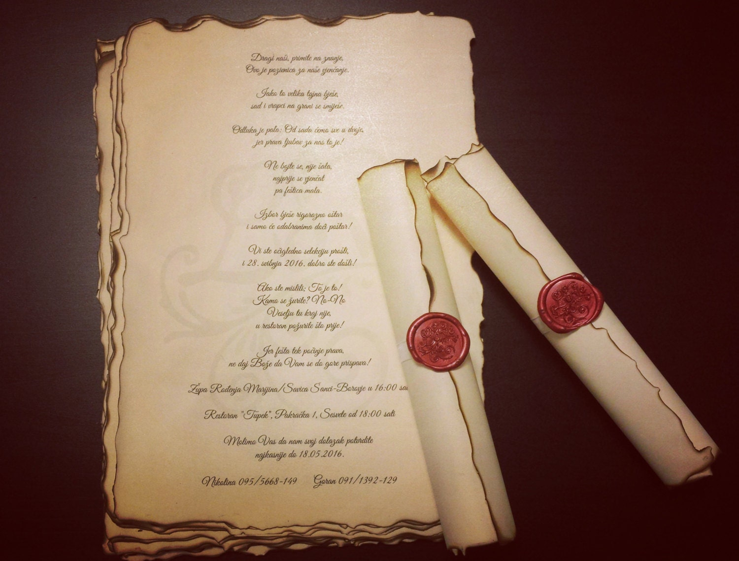 Vintage Wedding Scroll Invitation Handmade With Wax Seal