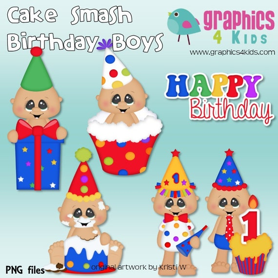 Cake smash birthday boy Digital Clipart Clip art for