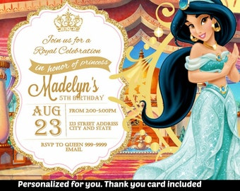 SUMMER SPECIAL- Princess Jasmine Birthday Invitation,Princess Jasmine Invitation,Princess Jasmine Invite,Birthday Invitation,Aladdin