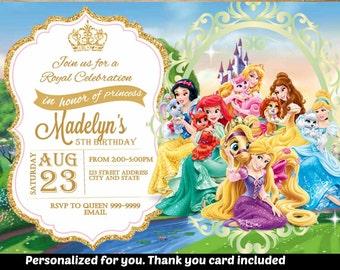SUMMER SPECIAL- Palace Pets Birthday Invitation,Palace Pets Invitation,Palace Pets Invite,Birthday Invitation,Palace Pets, Princess