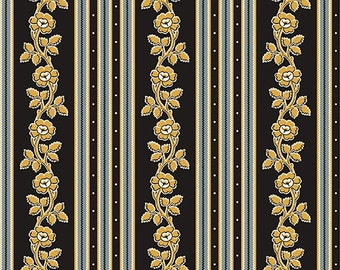 Little House on the Prairie Teal and Black Wallpaper Stripe by the yard