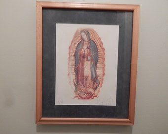 Our Lady of Guadalupe Silkscreen Wall Hanging Vintage