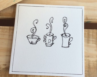 Hand Designed, Doodle Card, Greeting, Blank,