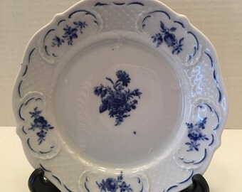 Vintage Decorative Plate~ Blue and White~ Lindner Handerbert West Germany~ Cabinet Plate Wall Plate