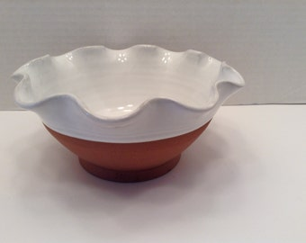 Vintage White and Brown Bowl with Ruffle Edge