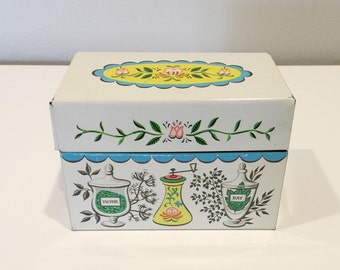 vintage J.Che N & Co. metal recipe box MADE IN USA