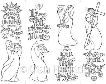 Set of 4 Jesus bookmarks  coloring page 8.5X11, also suitable for Bible Journaling