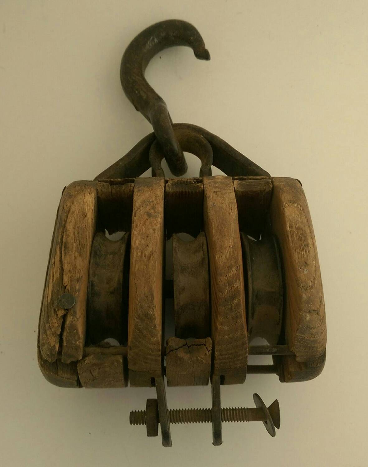 Antique cast iron and wood barn pulley for Uses for old pulleys