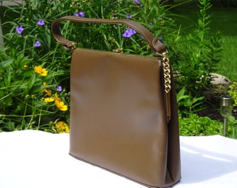 Vintage Mocha Brown Vintage 1960s Purse  | Brown Vinyl Mid Century Handbag  | Frame Purse