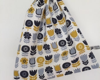 Wash Bag Scandi Flower fabric design. Made in Cornwall.
