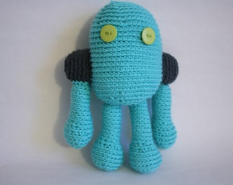 Robot Plushie, Blue and Grey Robot Stuffed Toy, Crochet Robot Toy