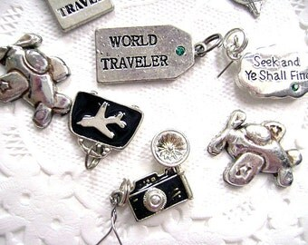Travel Charm Collection Lot ,Antique Silver Tone -FREE SHIPPING, Lot of Charms REDUCED
