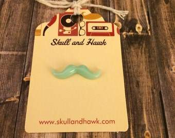 Tiny Blue Mustache Lapel Pin / Tie Tack - Resin - Tack Backing w Clutch Clasp
