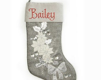 Personalised Silver Poinsettia Christmas Stocking