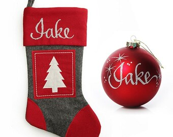 Personalised Grey and Red Tree Felt Stocking and Bauble Pack