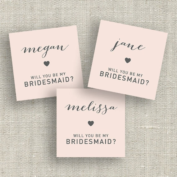 will you be my bridesmaid blush pink printable cards tags. Black Bedroom Furniture Sets. Home Design Ideas