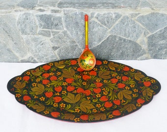 Vintage Russian Set of Large Hand Painted Wooden Tray and Spoon, Red and Gold Motifs, Traditional Russian Handicraft Plate, Retro Chic