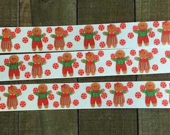 """7/8"""" Christmas Ribbon, Gingerbread Ribbon"""