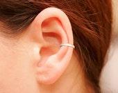 Sterling Silver Ear Cuff, CZ Pave Ear Cuff, 18K Gold Vermeil, Non Pierced Ear Cuff, Ear Wrap, Single Row CZ Ear Cuff