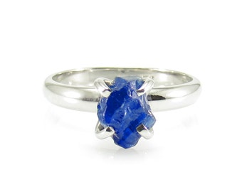 Raw Sapphire Ring, Rough Sapphire Ring, 1.50 Carat Uncut Sapphire Ring, Anniversary Ring, Engagement Ring