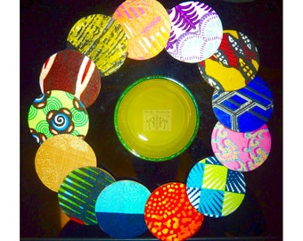Round fabric coasters in gorgeous ankara (African wax print) - set of 4
