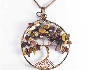 Wire Wrap Tree of Life Pendant , Tree of Life Necklace, Mookaite, Moukaite, Wirewrap, Autumn tree of life, wire wrapped tree of life jewelry
