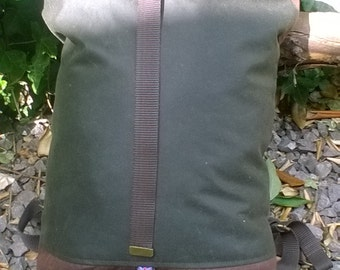Waxed Canvas Roll Top Backpack - Lined with Tartan (Plaid) Cotton Lining