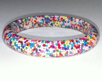 Delicious Candy Sprinkle Non Pareils Resin Slim Round Bangle Bracelet/Candy Resin Bangle/Candy Bracelet/Resin & Candy jewelry/Rainbow Candy