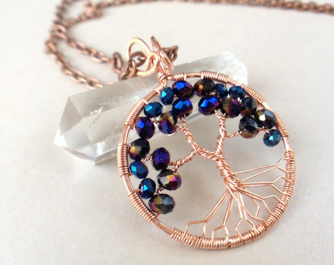 Alexandrite Tree-Of-Life Necklace Copper Tree of Life Wire Wrapped Crystal June Birthstone Leo Crown Chakra 55th Anniversary Healing Crystal