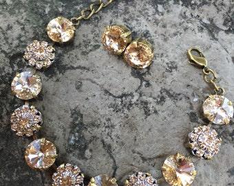 11mm swarovski bracelet/earrings