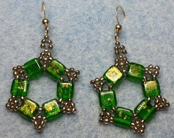 Six sided Green & Gold beaded circle