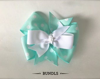 Mint & White Pinwheel Hair Bow