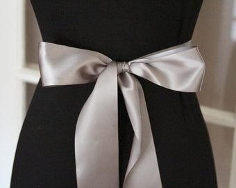 Gray Satin Ribbon/Gun Metal Gray Ribbon/Gray Bridal Sash/Gray Wedding Belt/Grey Satin Ribbon/Grey Ribbon/Grey Bridal Belt/Gray Ribbon