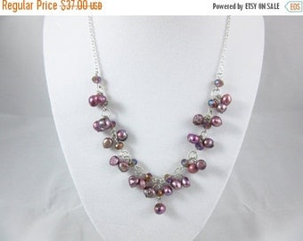 SALE 20% OFF Purple Freshwater Pearl Necklace Handmade 18inch Silver Plated Necklace