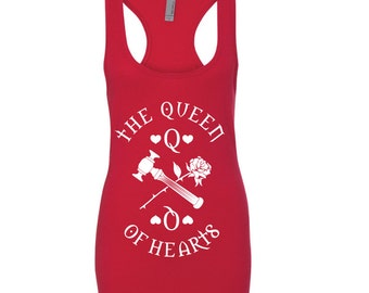 The Queen of Hearts | Jersey Racerback Tank, Alice in Wonderland, Cards, rose shirt, queen shirt, queen tank