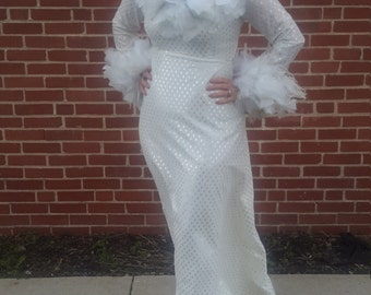 white and silver metallic feather dress from Nadine  vintage 1960 maxi statement piece fun and fabulous. FREE SHIPPING from RCMooreVintage
