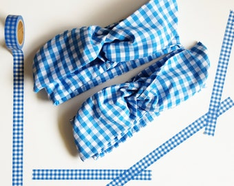 Dorothy Wizard of Oz Wire Headband - Pin Up Blue Gingham Hair Wrap