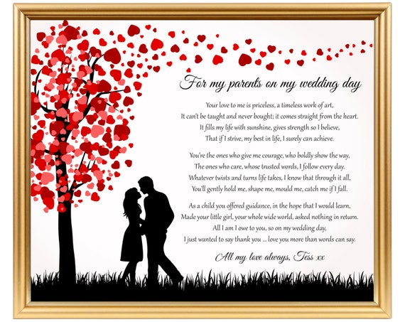 Gifts To Give Parents On Wedding Day: Bride Gift To Her Parents Wedding Day Poem Gift To Mom On
